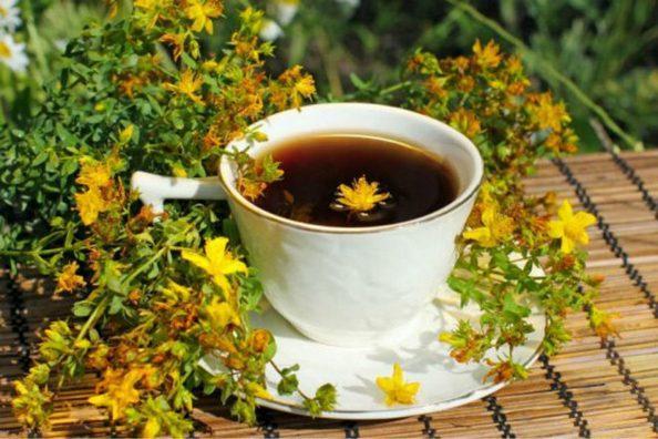 Чай с высушенным зверобоем