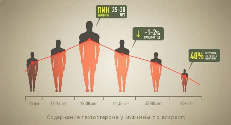 Содержание тестостерона у мужчин по возрасту